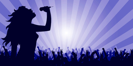 vector illustration of a young woman singing on stage