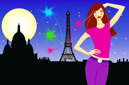 Vector illustration of a young woman in Paris Vector