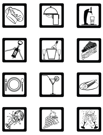 Exclusive Series of Hotel restaurant Services Icons. very detailed drawing . Vector