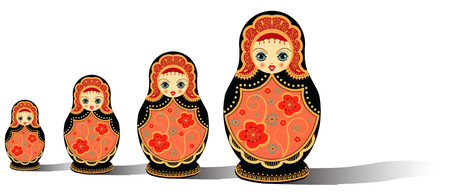 vector illustration of original russian dolls isolated on white Vectores