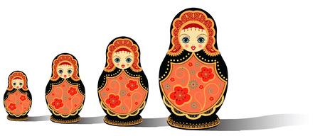 mu�ecas rusas: ilustraci�n vectorial de mu�ecas original ruso aisladas en blanco Vectores