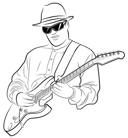 vector illustration of a man playing electrical guitar