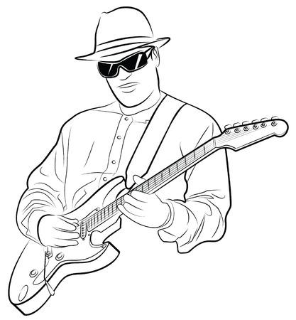 vectorillustratie van een man elektrische gitaar spelen