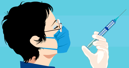 getting ready: Vector illustration of a doctor getting ready for an injection