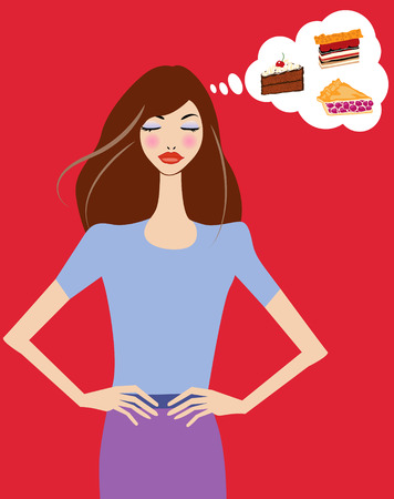 Vector illustration of a young pretty woman dieting