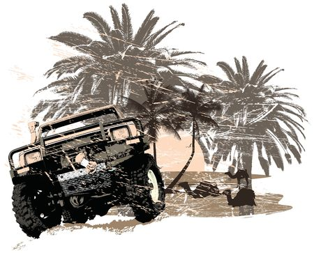 Vector illustration of a four wheel car on a off road driving in the desert Foto de archivo