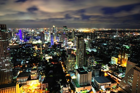 In Thailand, night sky view of the modern Bangkok  from the sky