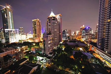 silom: In Thailand, night sky view of modern Bangkok; Silom district