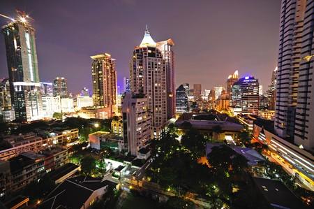 silom: In Thailand, night sky view of modern Bangkok; Silom district