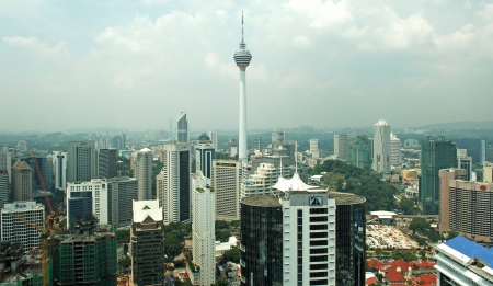 View of the business district with KL tower  in the city of Kuala Lumpur in Malaysia