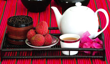 leechee: Asian pottery tea  set with chinese tea and litchees