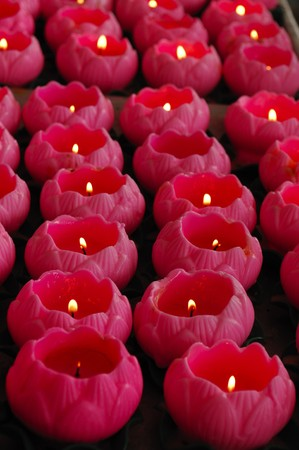 the largest: Malaysia Kuala Lumpur: Thean Hou temple situated on the top of Robson Hill is the largest Chinese temple in Southeast Asia. View of pink lotus flowers candles