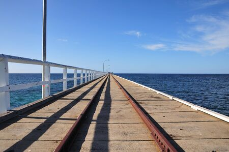 busselton: In Australia view of one  longest  wood world Jettys at Busselton in Geographe Bay -western part of the country. The Jetty have 1841 metres out to sea and a underwater observatory  Stock Photo