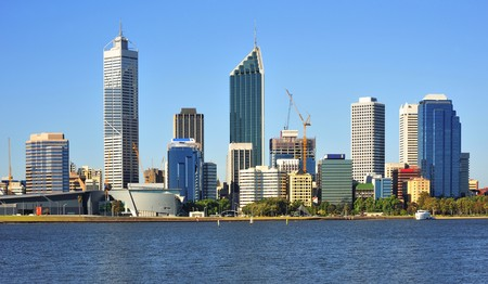 In Australia  a panoramic view of the modern Perth's city with the Swan river during day time