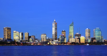 perth: In Australia  a panoramic view of the modern Perths city with the Swan river during day time