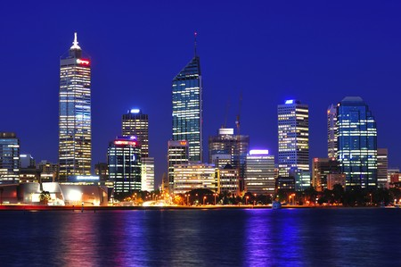 In Australia  a night panoramic view of the modern Perth's city with the Swan river