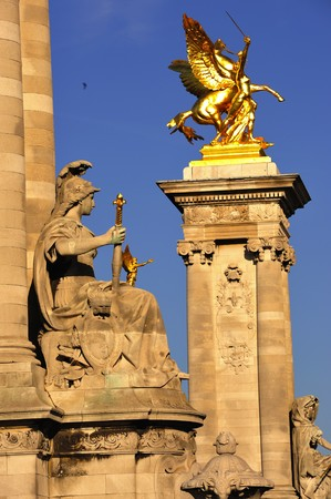France; Paris: Mythological statues of the Alexandre's III bridge Stock Photo - 4140705