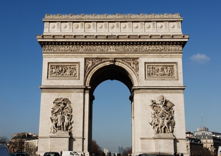 elysees: France, Paris:  View of the famous monument  Arc de triomphe in Champs Elysees  Stock Photo