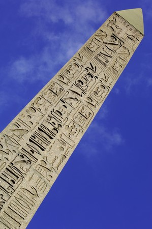 general cultural heritage: France; Paris;  detail of  the carved egyptian obelisk at the concorde square; one of the most famous squares in paris; hieroglyphics representation Stock Photo