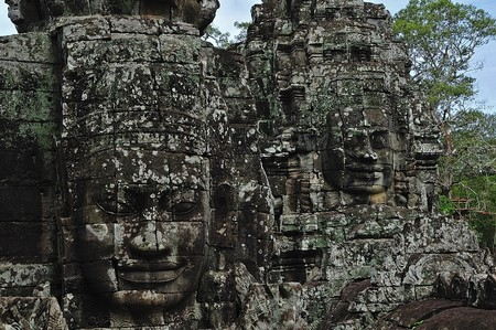 cambodia sculpture: Cambodia; Angkor; The Bayon was constructed during the reign of Jayavarman VII and Jayavarman VIII (13th century). The temple is one of the most enigmatic religious constructions in the world. Here  one of the famous  tower's faces