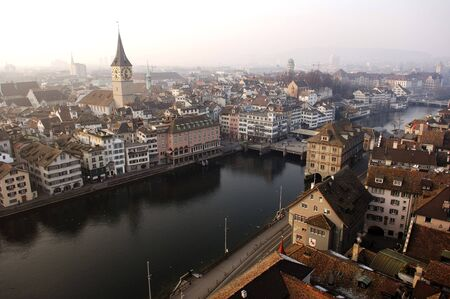 In Switzerland nice view of the city of Zurich with the river Stock Photo - 4196432
