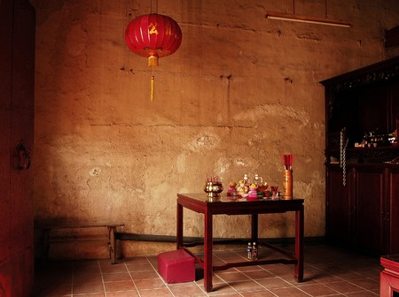 Malaysia, Malacca: An inside view of an ancient  Chinese temple photo