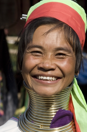 thailand, portrait of a beautiful Padaung lady. The women of this minority of mongolian descendence are known as Long necks photo