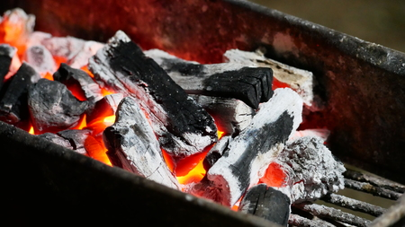 The charcoal stove fire is hot