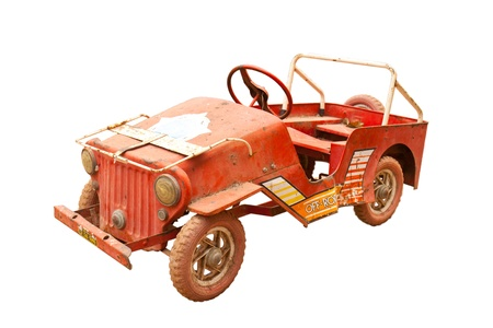 Old toy car in the isolated picture photo