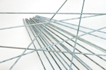 elongation: The metal strings in isolated picture Stock Photo