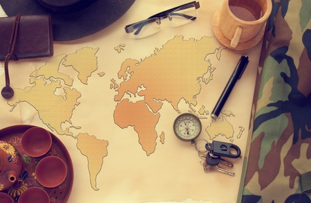 The world map and instrument Stock Photo - 9643057