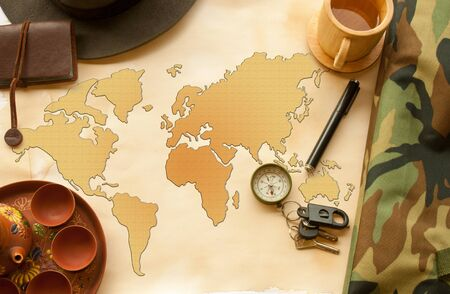 The world map and instrument
