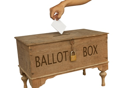 proxy falls: Voting box in isolated picture Stock Photo