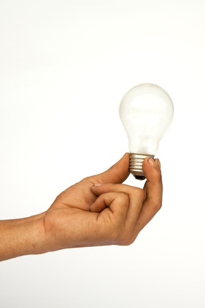 A hand and the bulb Stock Photo