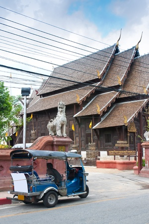Thai taxi and the old temple