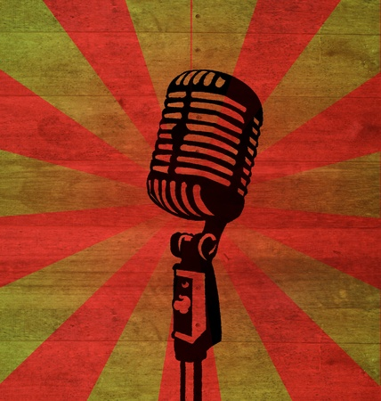 elvis: a mic and retro background Stock Photo