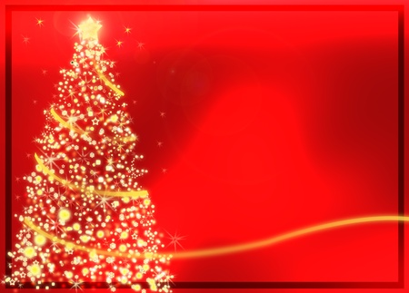 Abstract golden christmas tree on red background  photo