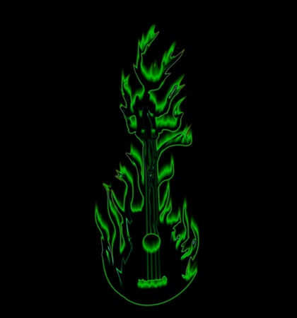 The green fire guitar in black
