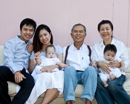Lovely Family on the sofa 写真素材