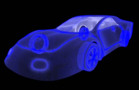 Glowing wireframe of a car 3d model. Isolated on black background photo