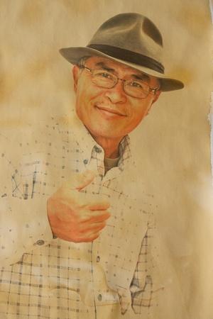 Vintage photo of man isolated on white