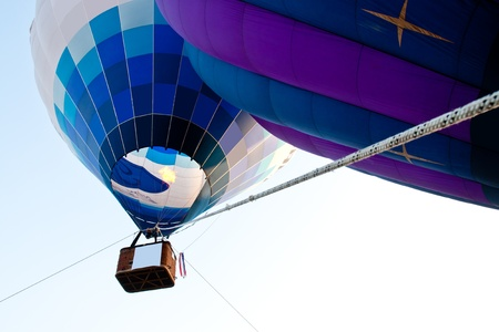 Hot Air Balloons racing in the sky Stock Photo