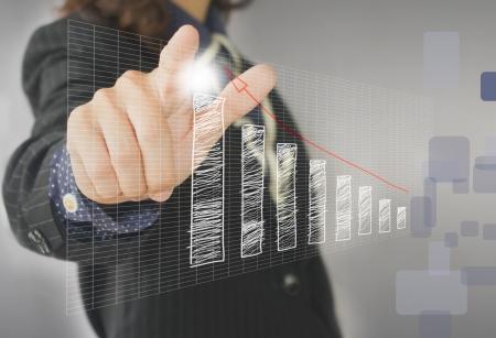 businesswoman hand touch virtual graph,chart, diagram Stock Photo