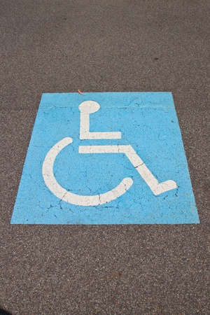 Logo on asphalt for disabled driver Stock Photo
