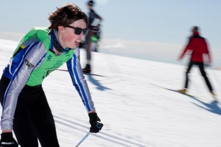 subaru: Melbourne, Australia - August 12, 2012: People are skiing on Subaru Victorian Interschools XC Championships In Mt Buller Editorial