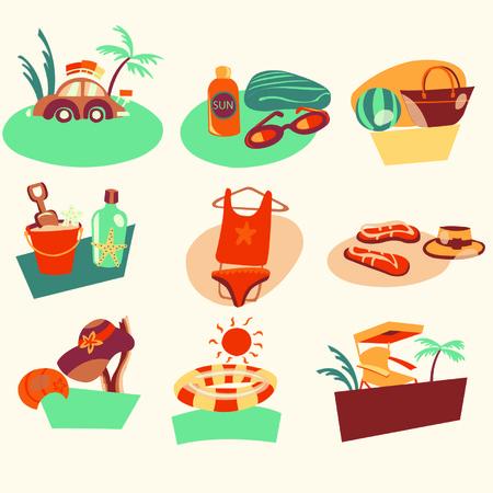 The beach icons Illustration