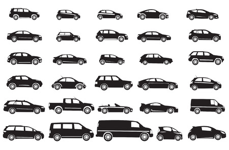 silhouette voiture: Un ensemble de voiture différente