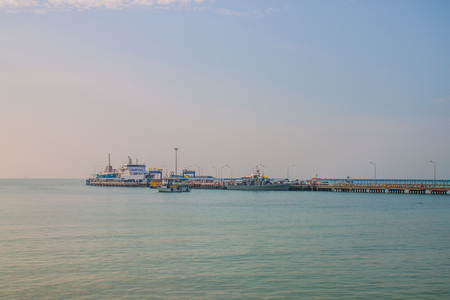 The port with ships