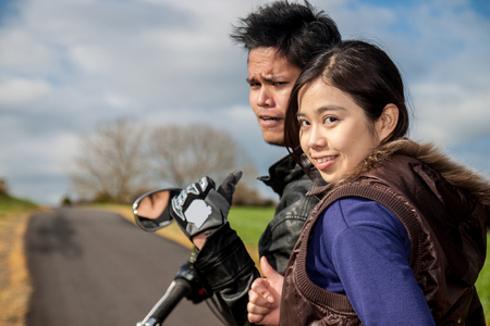 A couple on the motorbike Stock Photo