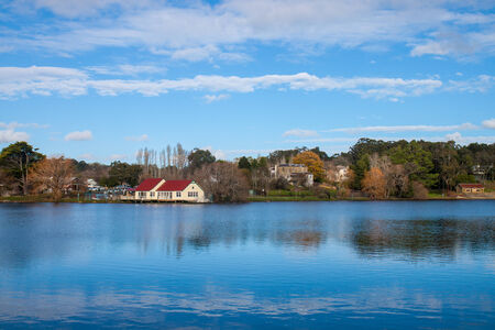 Lake Daylesford with the blue sky Stock Photo